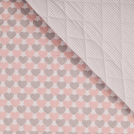 tissu matelasse coeurs vichy rose gris