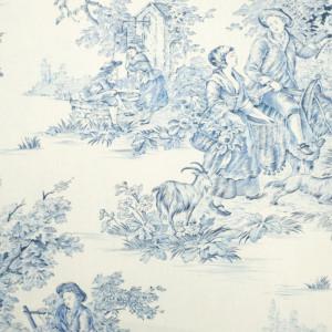 toile de jouy grande largeur pastorale bleu x10cm