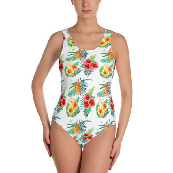 e88b22a7df1 One-Piece Swimsuit Tropical Flowers 1 | Merch Lovers