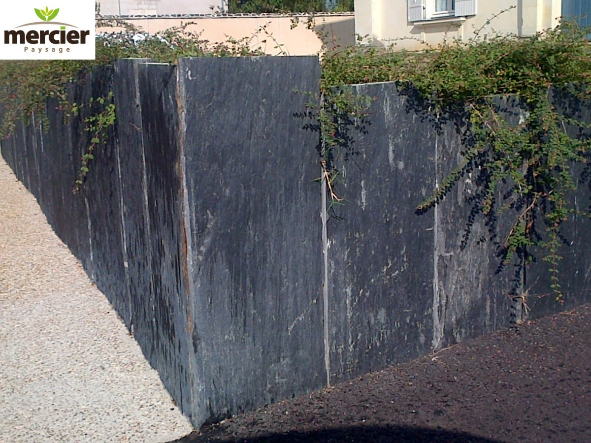 muret ardoise jardin awesome cuisine mur en pierre muret