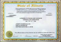 Dr. Mercolas Medical License. Certified Physician and Surgeon