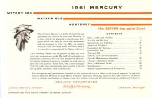 1961 Mercury Owners Manual Pg 2