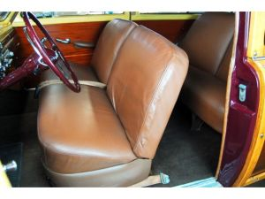 1949 Mercury Station Wagon leather interior (note wood door panels)