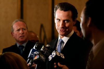 Mayor Gavin Newsom holds a press event before the No on Proposition 8 rally at the Westin St. Francis ballroom in San Francisco on Tuesday, Nov. 4, 2008. Proposition 8 seeks to eliminate the right gay couples to marry, defining marriage between one man and one woman. Newsom urged voters to go to the polls before they close and vote No.(David M. Barreda/Mercury News)