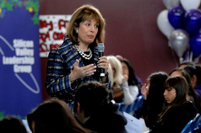 Rep. Jackie Speier speaks to seventh grade girls from Parkway Heights Middle School at the second annual Silicon Valley Women and Girls Leadership Summit held at Parkway Heights Middle School in South San Francisco, Calif. on Monday, May 10, 2010. The summit, presented by Representative Jackie Speier, the Silicon Valley Leadership Group, Parkway Heights Middle School and the South San Francisco Unified School District, has the goal to empower young girls and energize them about education by exposing them to private and public sector women role models. (Dan Honda/Staff)