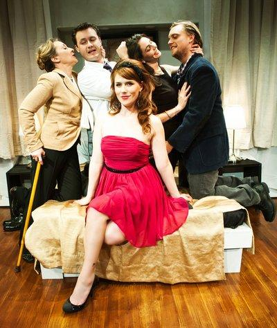 Photo by Jessica PalopoliLorri Holt, Brian Robert Burns, Liz Sklar, Lee Dolson and Lauren English in Becky Shaw at SF Playhouse