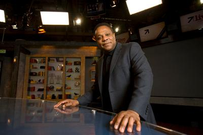 "Brian Copeland, who hosts a talk show on KGO-TV, the ABC affiliate in San Francisco, poses for a photograph on the set of the show, Tuesday, Feb. 14, 2012. Copeland, who has suffered in the past from bouts of depression so serious that he once purchased a gun with which to commit suicide, is performing a new one-man show entitled ""The Waiting Period."" (D. Ross Cameron/Staff)"