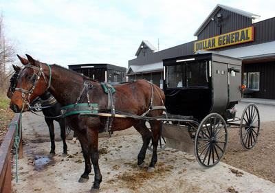 Among the jarring sights in Shipshewana, Indiana, are Amish buggies outside the Dollar General discount store. (Ellen Creager/Detroit Free Press/MCT)