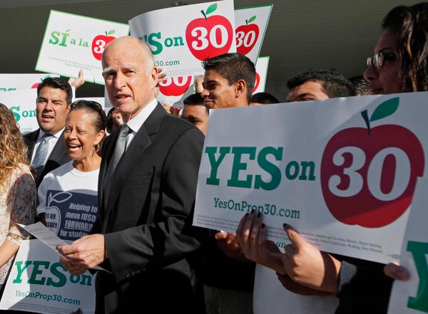 Oct. 23, 2012: Gov. Jerry Brown speaks at a rally in favor of Proposition 30, a tax increase initiative on the November ballot to stave off $6 billion in automatic spending cuts to schools. (Associated Press)