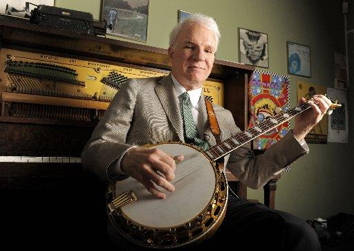Actor, musician and writer Steve Martin practices backstage before an appearance with the Steep Canyon Rangers band at Largo at the Coronet Theatre in Los Angeles, Friday, March 19, 2010.
