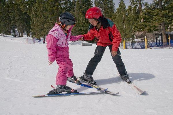 A Granlibakken instructor works with a young pupil at the Tahoe City lodge. (Granlibakken photo)