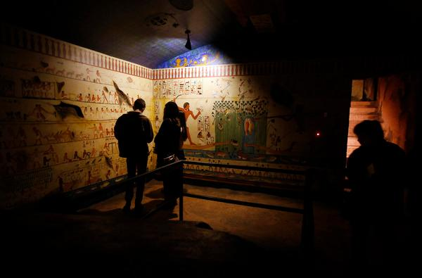 Visitors explore the tomb display at the Rosicrucian Egyptian Museum in San Jose, Calif., Saturday afternoon, Feb. 8, 2014. The museum claims to house the largest collection of Egyptian artifacts on exhibit in western North America. (Karl Mondon/Bay Area News Group)