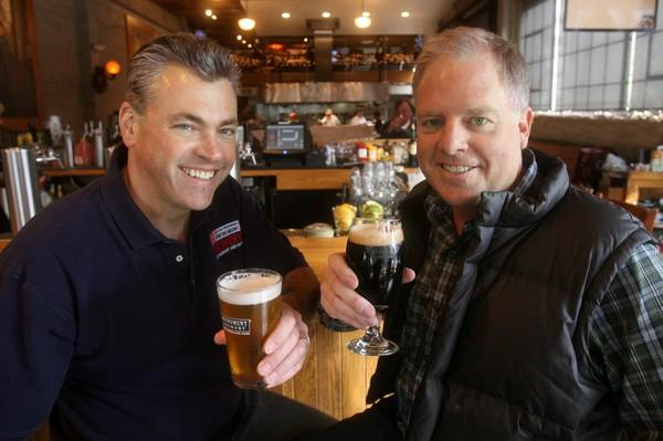 The co-founders of San Francisco's 21st Amendment Brewery,Nico Freccia, left, and brewmaster Shaun O'Sullivan, have opened a production brewery, tasting room, restaurant and beer gardenin San Leandro's old Kellogg's Cereal factory.