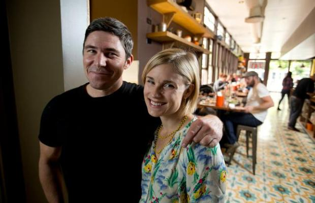 Joe Hargrave, left, and Sara Deseran, owners of Tacolicious restaurant in the Mission district of San Francisco, pose for a photograph at the venue, Monday, June 2, 2014. The couple has opened three other restaurants in San Francisco and Palo Alto, and have a book coming out in September. (D. Ross Cameron/Bay Area News Group)