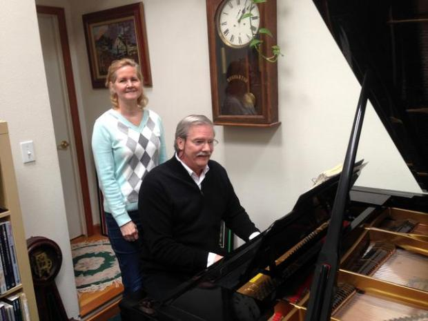"""John Orr / Daily NewsAlicia Wilmunder, executive director of the California Pops Orchestra, and her husband Kim Venaas, musical director of the Pops. """"She was a 15-year-old cellist and I was an 18-year-old music director at a music camp,"""" Venaas says. """"We've been together ever since."""" They are seen in their Palo Alto home on Monday, March 16, 2015."""