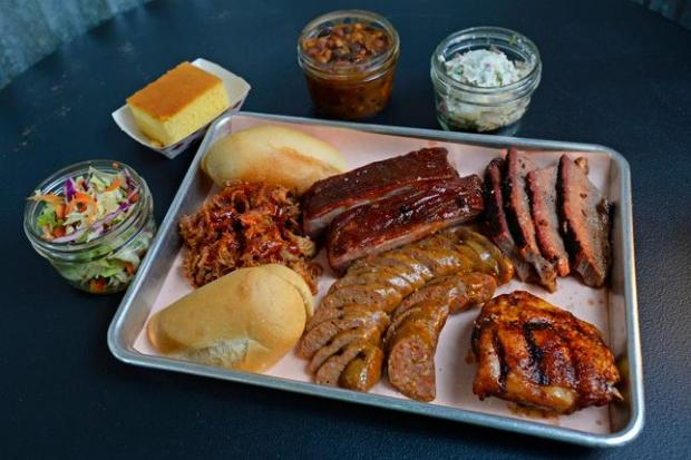 The Taster Special plate at Beaver Creek Smokehouse in Martinez, Calif., on Thursday, April 2, 2015. (Jose Carlos Fajardo/Bay Area News Group)