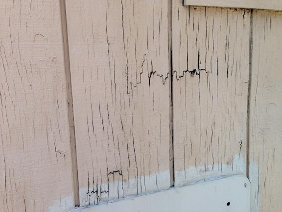 John Orr / Daily NewsDry rot is seen in many places on the old portable buildings used by the Town of Atherton Permit Department, on Wednesday, May 6, 2015. Finger pressure can break through the wood at places like this. The white-painted patch at the bottom of this photo is an old traffice sign applied as a make-do repair.