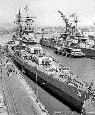 The USS Indianapolis is shown at the dry docks on Mare Island on July 12, 1945.