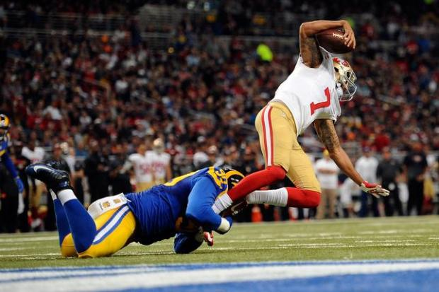 ST. LOUIS, MO - NOVEMBER 1: Michael Brockers #90 of the St. Louis Rams sacks Colin Kaepernick #7 of the San Francisco 49ers in the second quarter at the Edward Jones Dome on November 1, 2015 in St. Louis, Missouri. (Photo by Michael B. Thomas/Getty Images)