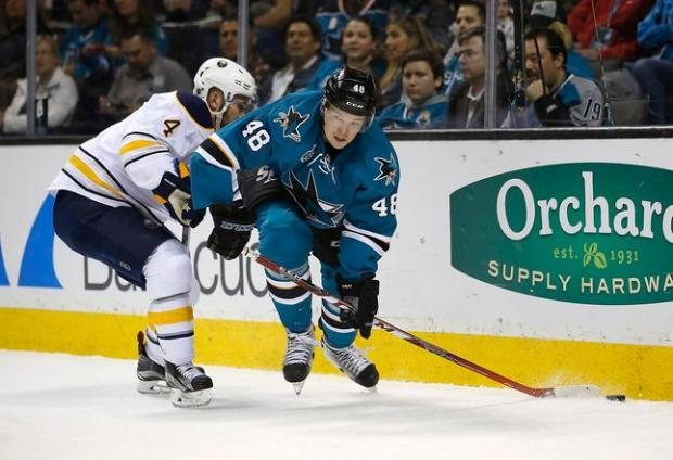San Jose Sharks center Tomas Hertl (48) battles for the puck against Buffalo Sabres defenseman Josh Gorges (4) during the first period of an NHL hockey game Friday, Feb. 26, 2016, in San Jose, Calif. (AP Photo/Tony Avelar)