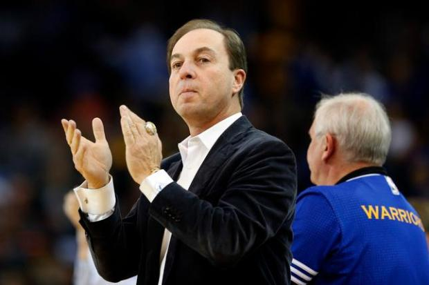 Golden State Warriors majority owner Joe Lacob claps his hands (with the championship ring) during the NBA game against the Los Angeles Clippers in the first half at Oracle Arena in Oakland, Calif., on Wednesday, Nov. 4, 2015. (Ray Chavez/Bay Area News Group)
