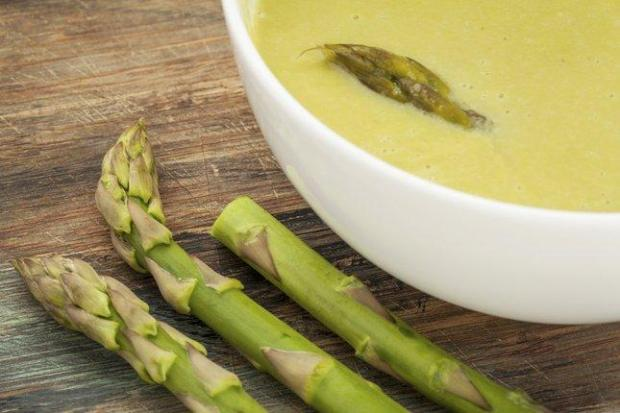 Asparagus soup makes a beautiful first course for spring celebrations. (Thinkstock)