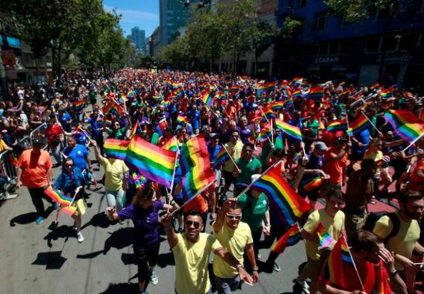 The SF Pride parade fills Market Street in San Francisco, Calif., on Sunday, June 26, 2016. (Karl Mondon/Bay Area News Group)
