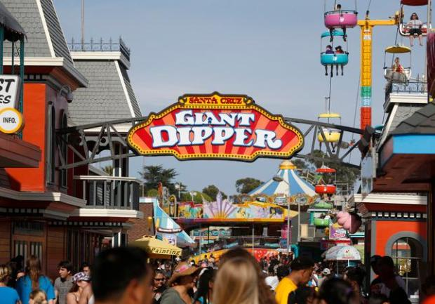 Sign for the Giant Dipper roller coaster at the Santa Cruz Beach Boardwalk, Saturday, May 3, 2014. The venerable Giant Dipper will celebrate its 90th anniversary soon. (Patrick Tehan/Bay Area News Group)