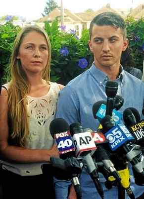 Denise Huskins and boyfriend Aaron Quinn attend a news conference July 13, 2015, in Vallejo following Huskins kidnapping. (Mike Jory Times-Herald file)