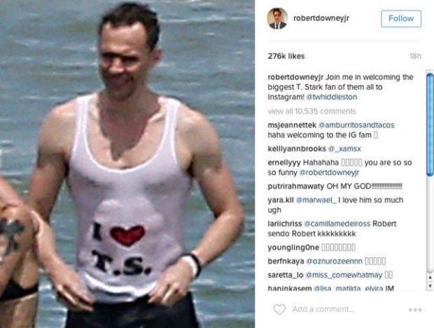 Screen shot of Robert Downey Jr.'s Instagram post about Tom Hiddleston