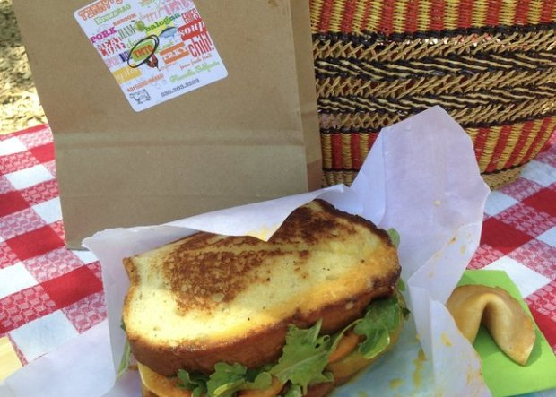Tang-dusted bacon and heirloom tomatoes combine in a creative BLT from Timmy's Brown Bag, a new sandwich shop in Placerville. (Jackie Burrell/Bay Area News Group)