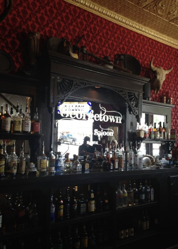 The newly renovated saloon in the historic Georgetown Hotel boasts period details, including a pressed tin ceiling, miner's picks and lanterns. (Photo: Jackie Burrell/Bay Area News Group)