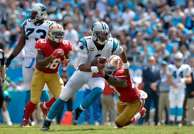 CHARLOTTE, NC - SEPTEMBER 18: Cam Newton #1 of the Carolina Panthers runs the ball against the San Francisco 49ers in the 3rd quarter during the game at Bank of America Stadium on September 18, 2016 in Charlotte, North Carolina. (Photo by Grant Halverson/Getty Images)