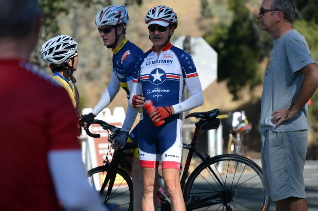 Al Kalin, center, and other members of Mount Diablo Cyclists, get ready to resume their ride after a short break at the junction ranger station at Mount Diablo State Park near Walnut Creek, Calif., on Wednesday, Sept. 28, 2016. (Kristopher Skinner/Bay Area News Group)