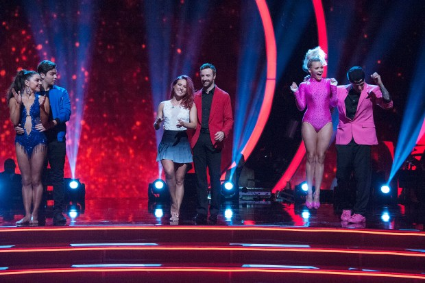 "DANCING WITH THE STARS - ""Episode 2302A"" - The first elimination of the season will take place on ""Dancing with the Stars: The Results,"" live, TUESDAY, SEPTEMBER 20 (8:00-10:01 p.m. EDT), on the ABC Television Network. (ABC/Eric McCandless) JENNA JOHNSON, JAKE T. AUSTIN, SHARNA BURGESS, JAMES HINCHCLIFFE, WITNEY CARSON, VANILLA ICE"