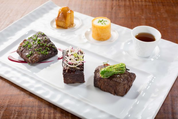 A signature dish at Michael Mina's first Hawaiian restaurant, Stripsteak, which opened in Waikiki in August, is the World Wide Wagyu, which includes a Japanese A5 striploin, an American skirt steak and Australian short rib. (Photo: Stripsteak Waikiki)