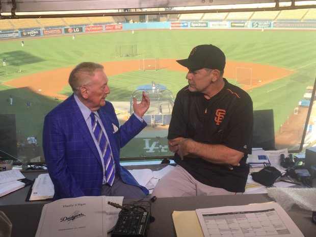 Bruce Bochy visits Vin Scully. (Courtesy: SF Giants)