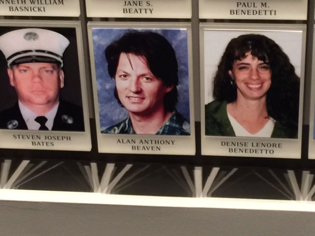 Alan Beaven's photo is displayed at the 9/11 memorial. (Courtesy Rick Welts)