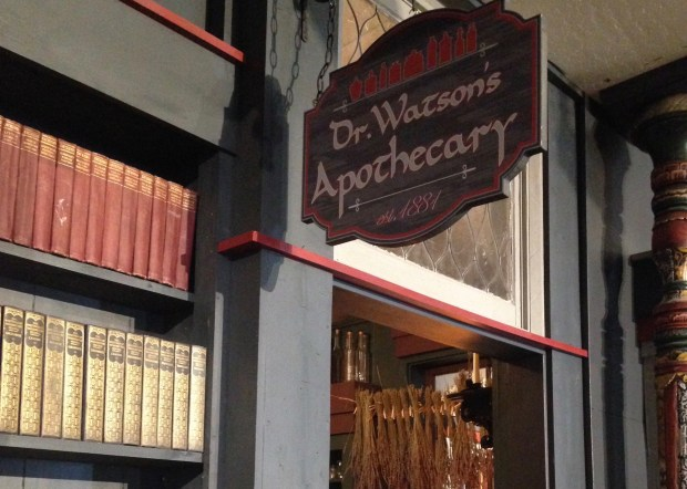 Dr. Watson's Apothecary is just one of the scenes in Baker Street West, an entire floor devoted to all things Sherlockian at Jackson's Hein & Company bookstore. (Photo: Jackie Burrell/Bay Area News Group)