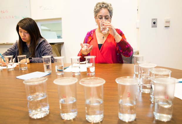 "Photo Jacqueline Ramseyer/Bay Area News Group/September 6, 2016Johanna Castro, a senior engineer with the Santa Clara County Water District, tastes an unmarked sample of drinking water during a Flavor Profile Analysis panel meeting at the Water Quality Lab in San Jose. A select panel of ""water sommeliers"", employees in the Santa Clara Valley Water District, gather every Tuesday during the ""Taste and Odor"" season, May through October, to do a Flavor Profile Analysis on water from the District's three water treatment plants. There is also a smell test done on local raw water. During the off-season, the panel convenes every other Tuesday."