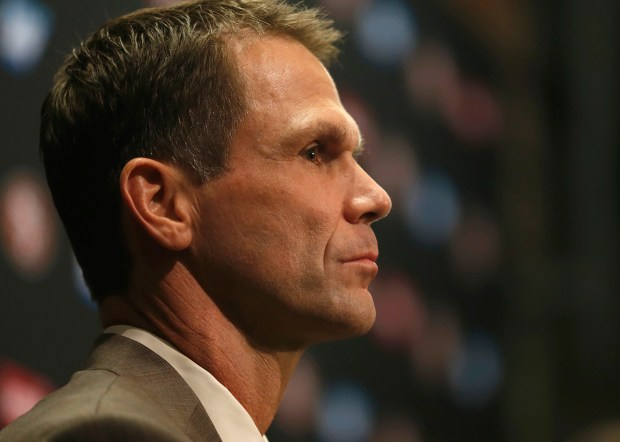 San Francisco 49ers general manager Trent Baalke during the announcement of Jim Tomsula as their head coach at Levi's Stadium in Santa Clara, Calif., on Thursday, Jan. 15, 2015. (Nhat V. Meyer/Bay Area News Group)
