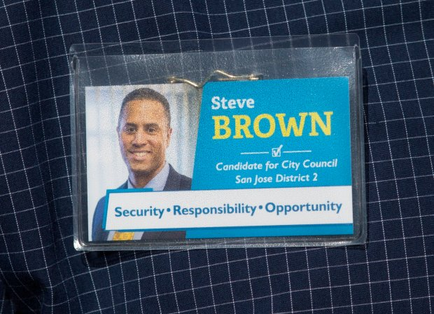 San Jose City Council candidate, Steve Brown wears a name tag as he canvases a neighborhood in San Jose, Calif., Friday, Sept. 16, 2016. Brown is running against Sergio Jimenez for the San Jose District 2 City Council seat in November. (Patrick Tehan/Bay Area News Group)