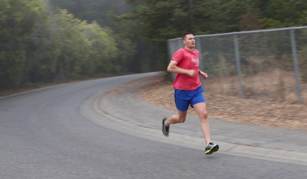WVJS member Bjorn Samson gets underway during the club's Saturday morning workout at West Valley College.Photograph by George Sakkestad