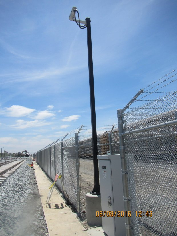 A stretch of the Berryessa BART extension will be equipped with what is believed to be the first of it's kind intrusion detection system, which incorporates both video surveillance (seen here) and wayside fence tilt sensors. Photo courtesy of Santa Clara Valley Transportation Authority