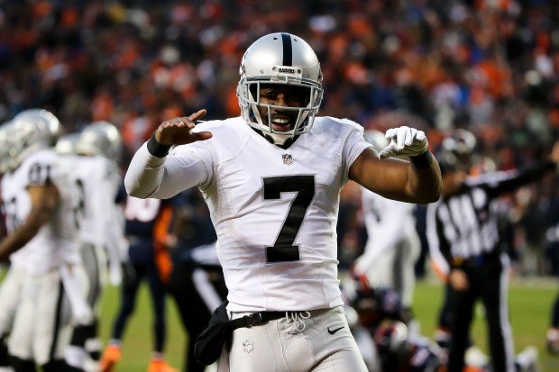 DENVER, CO - DECEMBER 13: Punter Marquette King #7 of the Oakland Raiders celebrates after the Raiders recovered a fumble on a punt return attempt in the fourth quarter of a game at Sports Authority Field at Mile High on December 13, 2015 in Denver, Colorado. (Photo by Doug Pensinger/Getty Images)