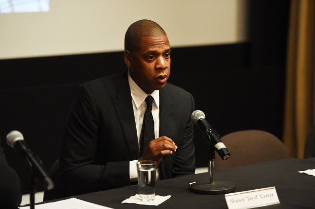 "NEW YORK, NY - OCTOBER 06: Rapper Shawn ""JAY Z"" Carter participates in a panel discussion during Shawn ""JAY Z"" Carter, the Weinstein Company and Spike TV's announcement of a documentary event series on Kalief Browder on October 6, 2016 in New York City. (Photo by Larry Busacca/Getty Images for Spike)"