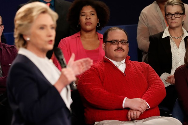 Kenneth Bone listens as Democratic presidential nominee Hillary Clinton answers a question during the second presidential debate with Republican presidential nominee Donald Trump at Washington University in St. Louis, Sunday, Oct. 9, 2016. (Rick T. Wilking/Pool Photo via AP)