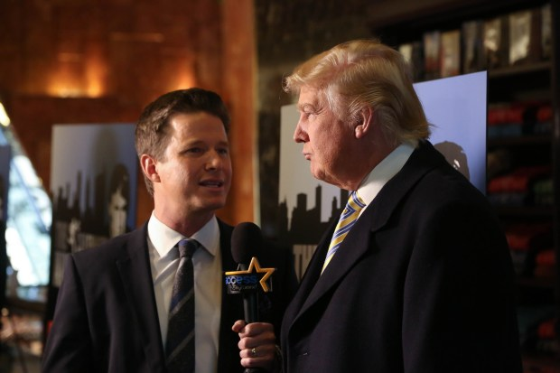 "NEW YORK, NY - JANUARY 20: Donald Trump (R) is interviewed by Billy Bush of Access Hollywood at ""Celebrity Apprentice"" Red Carpet Event at Trump Tower on January 20, 2015 in New York City. (Photo by Rob Kim/Getty Images)"