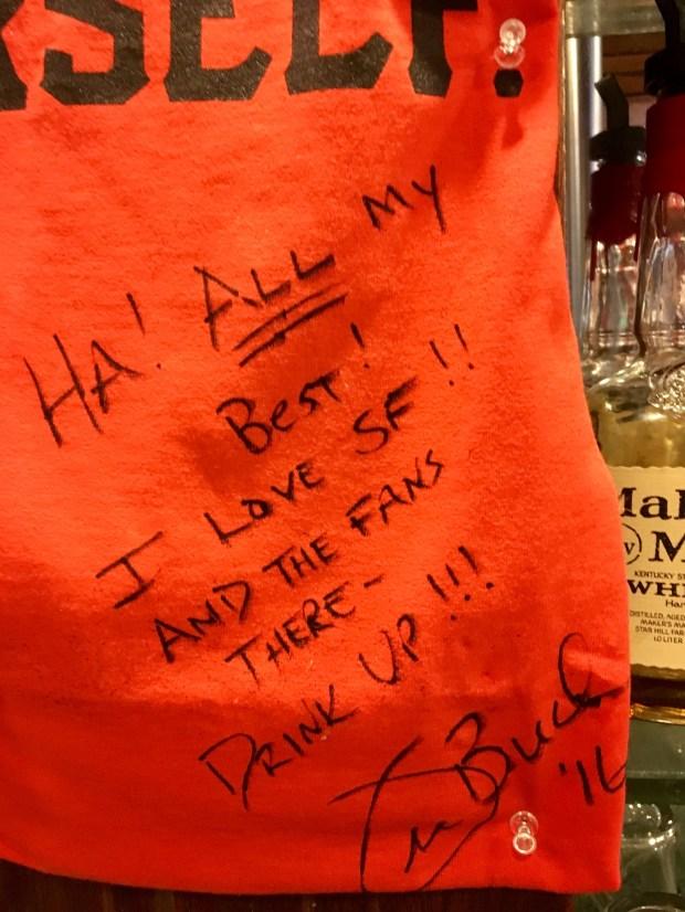 "Joe Buck's inscription on the custom-made shirt that tells him to ""Go Buck Yourself."""