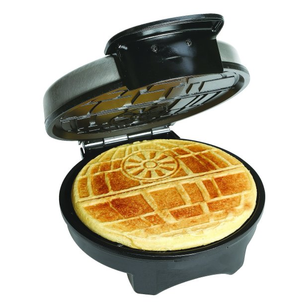 We'd like to think that Darth Vader's waffles looked exactly like this. This Star Wars waffle maker creates tasty Death Stars, with dual indicator lights that tell you when the iron is hot, the waffle ready and the universe yours for the taking. (Universal Screen Arts)